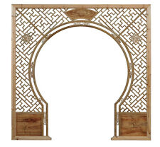 Chinese Light Natural Wood Around Arch Wood Room Divider cs2235