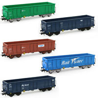 2pcs HO Scale Open Gondola Car 1:87 Printed Railway Wagons Container Freight Car