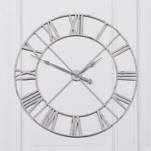 Pale Grey / Off White 110cm Vintage Skeleton Metal Wall Clock Roman Numeral