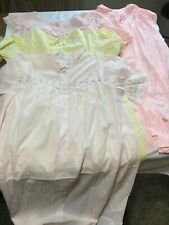 3 Vintage Cotton Blend Nightgowns Sleepwear Plus Nylon Robe