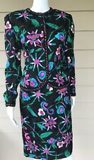 anne crimmins for umi collections Silk Floral Skirt Blazer Suit Size 8