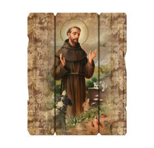 """St. Francis of Assisi, Wood Plaque, 9"""" x 7 1/2"""" x 1/4"""" Made In Italy"""