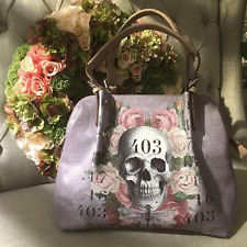 "Lilac faux leather Skull+Roses Boho/Goth Handbag by Swedish Designer ""Van Asch"""