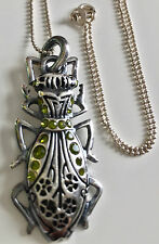 "LIBERTY OF LONDON Beetle Pendant on Sterling Silver 18"" Chain - Quirky!"