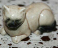 Vtg Hand Painted Ceramic Siamese Cat Mcm Figurine