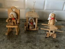 3 VINTAGE WOOD ORNAMENTS Girl w/ White Pigtails Airplane, Train, Rocking Chair