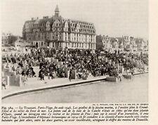 62 TOUQUET PARIS PLAGE GRADINS PISCINE MARINE GRAND HOTEL IMAGE 1948 OLD PRINT