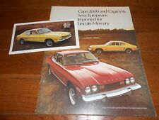 1973 MERCURY CAPRI 2000 and V-6 ORIGINAL BROCHURE / CATALOG plus ORIG. POSTCARD!