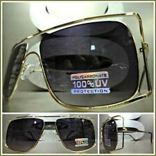 Men's CLASSIC VINTAGE RETRO HIP HOP Style SUN GLASSES Large Gold Fashion Frame