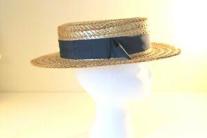 "VINTAGE Natural Straw Boater Blue Ribbon Trim SIZE M 21.5"""
