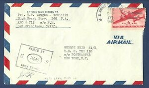 U.S. Army Postal Service APO 913 Viti Levu Fiji Islands Airmail Cover1944 Censor