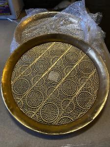 045 - 748930 Metalltablett Serviertablett Metall Tablett gold gelb groß