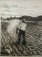 19th century Vintage Drawing - Dessin Ancien - Man in the Field, Sow