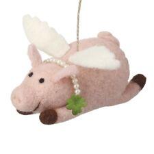 Pink Wool Fabric Flying Pig Christmas Tree Fun Decoration (15cm)