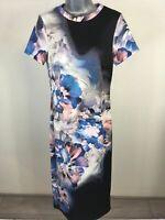 WOMENS STAR JULIEN MACDONALD BLUE PINK BLACK SHORT SLEEVE LONG DRESS SIZE UK 10