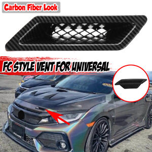 For Honda Civic 16-2021 Carbon Fiber Look Front Bumper Side Vent Air Duct Intake