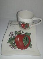 Vintage Ceramic Snack Set - Apple Design - Teacher's Gift