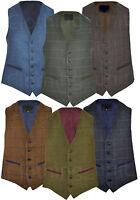 Mens Classic Wool Blend Derby Tweed Check Waistcoat  Herringbone Formal  S - 3XL