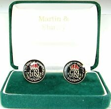 1942 Six pence cufflinks  real coins in Black & Red