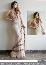Indian Designer White Color Mono Net Ruffle Embroidery Saree With Blouse SL