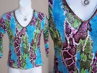 Alberto Makali snake print knit top shirt size M silver sequins vneck blouse