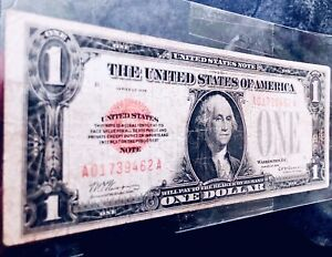 1928 USA $1 DOLLAR UNITED STATES RED SEAL CIRCULATED BANK NOTE -A017