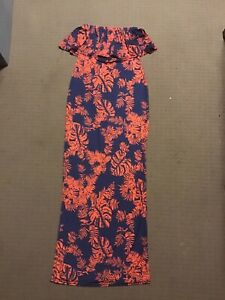 BNWOT New Boohoo Size UK 8 Aus 6 Orange Blue Dress Womens Ladies Maxi Strapless