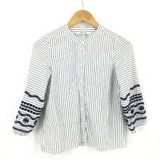 Madewell Striped Embroidered Sleeve Blouse Top Womens Size XXS