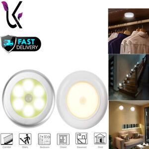 LED Motion Sensor Wireless Night Light PIR Battery Lights Cabinet Stair Lamp UK