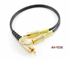 CablesOnline 1ft Single RCA Male to 2-RCA Male Gold-Plated Splitter Cable, BK