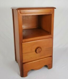Vintage Maple Wood Nightstand End Table Ethan Allen Style Colonial Mid-Century
