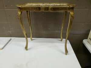 """Mid Century Modern Made in Italy Plastic Side End Table Gold Tone 22"""" Tall"""