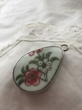 Vintage Sterling Silver Flower Pendant Glass and Silver Floral Pink White