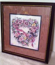 Home Interiors Homco Picture Heart Wreath with Birds Nest Eggs Mauve Colorful