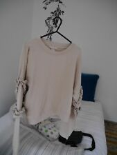 H&M Beige Cropped Oversize Sweatshirt Top with Sleeve Decorations Size 8 *