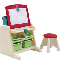Step2 Creative Children Flip & Doodle Easel Desk with Stool and Storage Bins