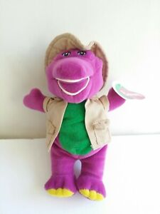 "PBS Kids 6"" Barney Safari toy plush stuffed Animal 1996  RARE New with Tags"