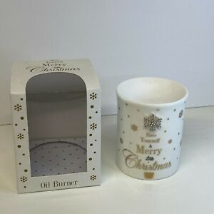 """Mad Dots """"Have Yourself A Christmas"""" T-Light Oil or Wax Melt Burner White & Gold"""