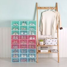 Foldable Plastic Transparent Shoe Box Storage Clear Organizer Stackable Boxes