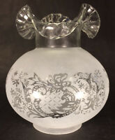 "New 4"" Fitter Etched Filigree Glass Gas Globe Lamp Shade w/ Crimped Top 8.5"" Ht."