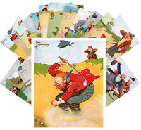 Postcards Pack [24 cards] Funny Golf and Sport Scotland Vintage Cartoon CC1057