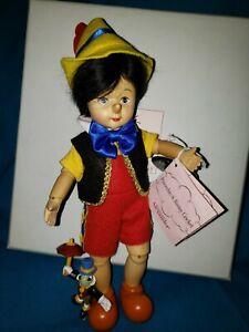"MADAME ALEXANDER WOOD Pinocchio & Jiminy Cricket 8"" Ltd Ed  #48705 W/BOX, CERT."