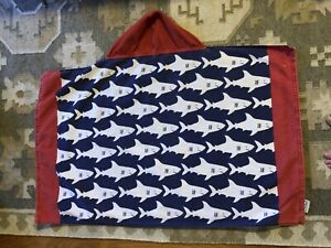 Pottery Barn Hooded Beach Pool Towel Sharks Red White Blue