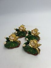 CHRISTMAS ANGEL SHAPED NAPKIN RING HOLDERS GREEN GOLD HALOS WINGS- SET OF 4