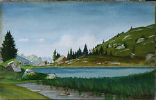 Aquarelle Originale 1904 Oberhalbstein Suisse Grisons