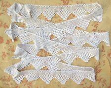 "VintageFrench Handmade CrochetScalloped RectangleBorder Trim Yardage, 133"""