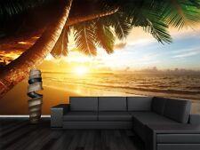 Romantischer Sonnenuntergang Fototapete - Paradies mit Palmen 336 cm x 238 cm
