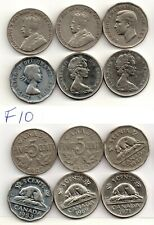 (F10) 6 x 5 CENTS_1927, 1930, 1948, 1953sf, 1969, 1971, Coins,Canada