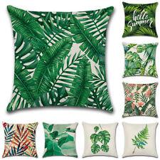 Tropical Plant Botanic Leaves Cotton Linen Pillow Throw Case Cushion Cover 45cm