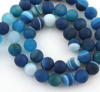 Natürliche Streifen Achat Perlen Kugel Matte Blau 8mm Edelsteine Natur G71